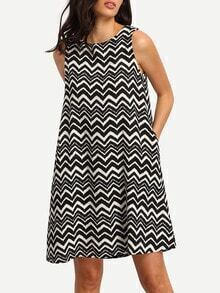 Black White Sleeveless Striped Shift Dress