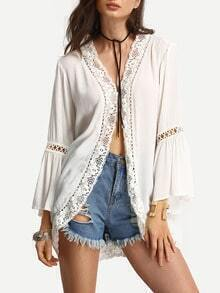 Beige Long Sleeve Patchwork Lace Blouse