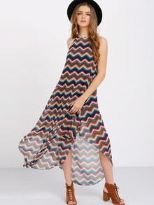 Multicolor Sleeveless Hollow Back Irregular Dress