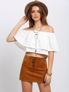 Beige Off The Shoulder Ruffle Crop Top