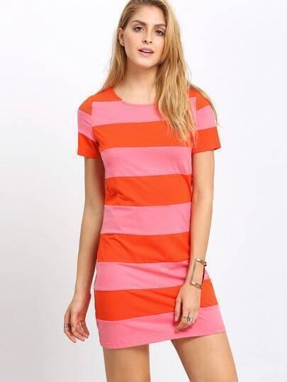 Multicolor Short Sleeve Striped Dress