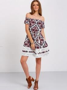 Multicolor Off The Shoulder Print Tessel Tie Dress