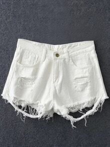 White Pockets Lace Splicing Ripped Hole Denim Shorts