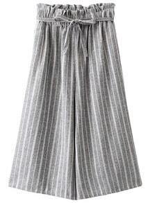 Grey Pockets Tie-waist Bow Vertical Stripe Wide Leg Pants