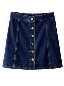 Dark Blue High Waist Buttons Front Denim Skirt