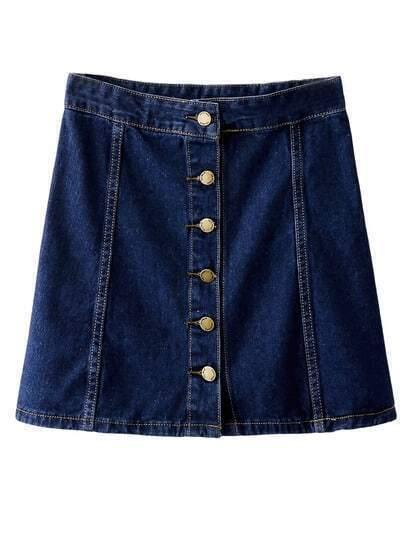 Dark Blue High Waist Buttons Front Denim Skirt