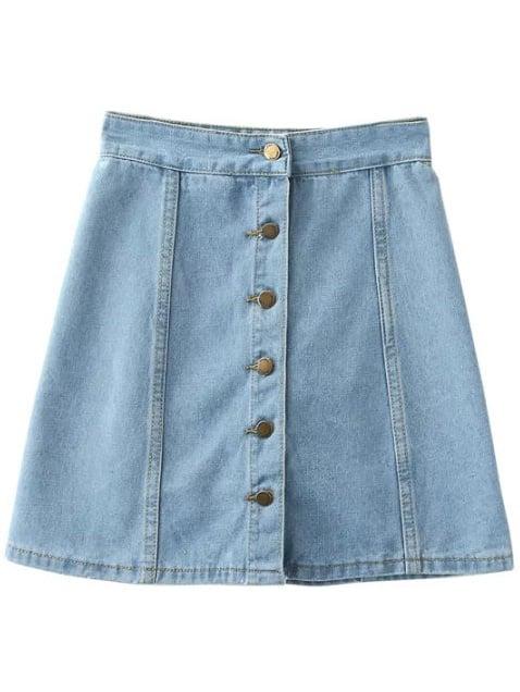 Buttons Front Denim A-Line Skirt -SheIn(Sheinside)