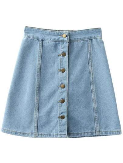 Buttons Front Denim A-Line Skirt