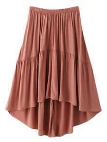Pink Knee Length Elastic Waist High Low Skirt
