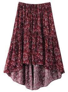 Multicolor Print Elastic Waist High Low Skirt