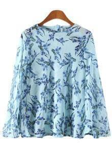 Blue Bell Sleeve Buttons Back Flowers Print Blouse