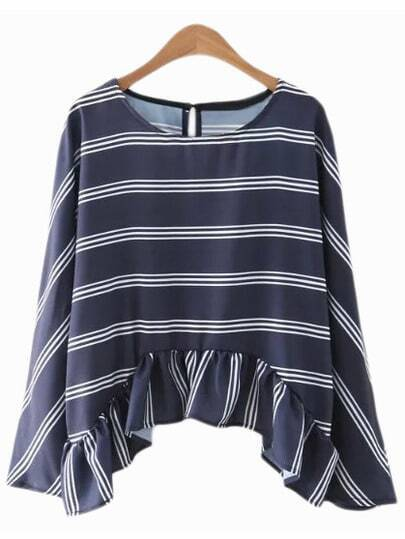 Dark Blue Bell Sleeve Ruffle Hem Stripe Blouse