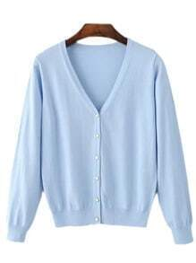 Azure V Neck Buttons Front Cardigan Knitwear