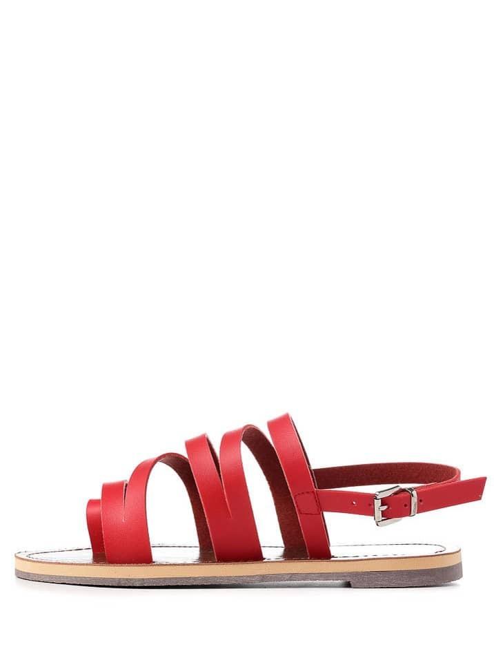 strappy sandalen flach mit schnalle in rote german shein. Black Bedroom Furniture Sets. Home Design Ideas