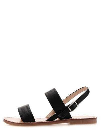 Black Toe-Ring Faux Leather Sandals