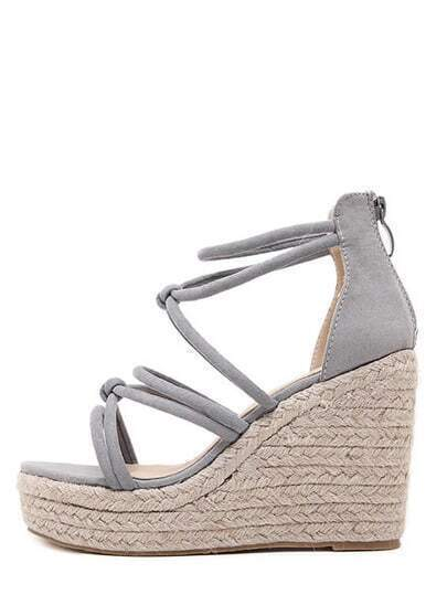 Grey Open Toe High Platform Strappy Wedges