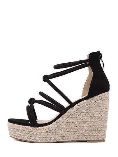 Black Open Toe High Platform Strappy Wedges