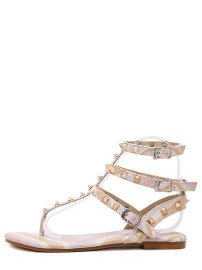 Sandali rosa con borchie con fascette