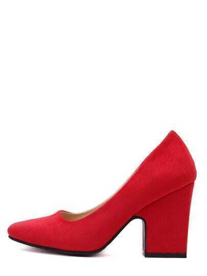 Red Square Toe Chunky Heel Pumps