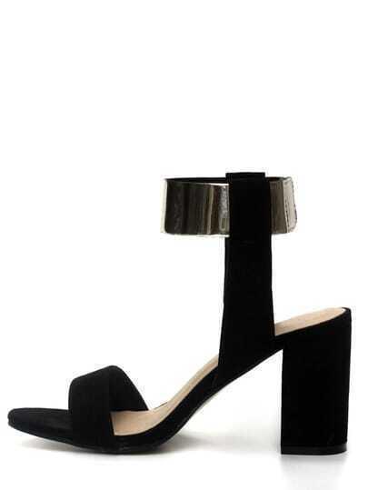 Black Metallic Ankle Stap High Block Heel Sandals