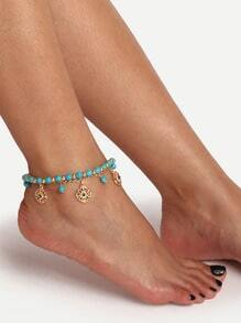 Gold-tone Turquoise Tassel Boho Anklet