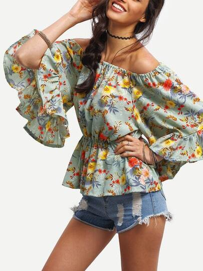 Blusa Peplum estampada de flores con escote bañera