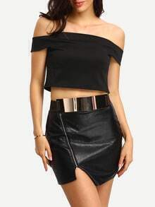 Off-The-Shoulder Black Crop Top