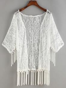 Fringe Open-Front Cover-Up Lace Blouse