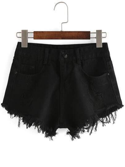 Frayed Black Denim Shorts