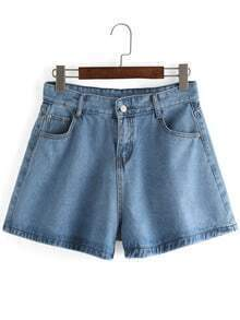 Wide Leg Light Blue Denim Shorts