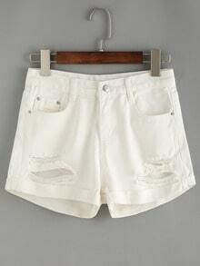 Ripped Rolled Hem White Denim Shorts