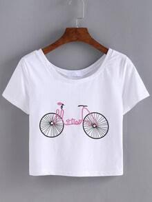 Bicyle Print Crop T-shirt