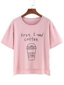 Coffee Cup Print High Low T-shirt