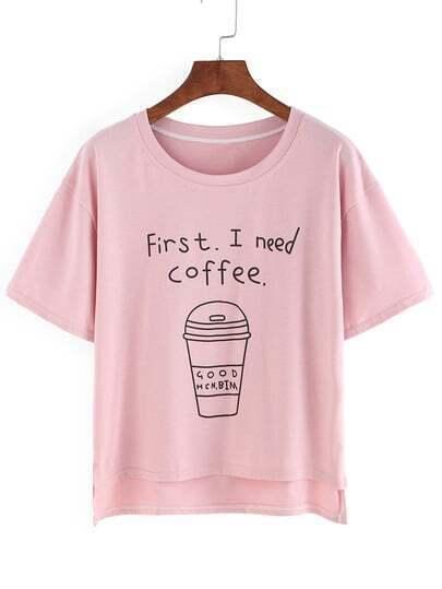 Coffee Cup Print High Low T-shirt