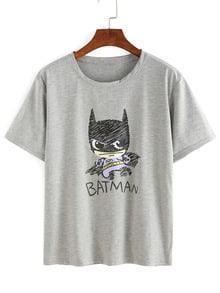 Cartoon Print Grey T-shirt