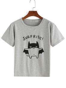 Cartoon Print Grey T-shirt