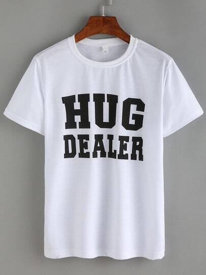 Letter Print White T-shirt pictures