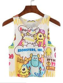 Allover Cartoon Print Crop Tank Top