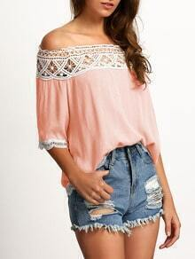 Pink Boat Neck Lace Crop Blouse