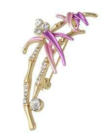 Purple Rhinestone Flower Ladies Brooch
