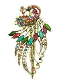 Colorful Rhinestone Peacock Hair Clip