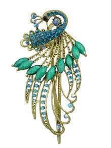 Blue Rhinestone Peacock Hair Clip