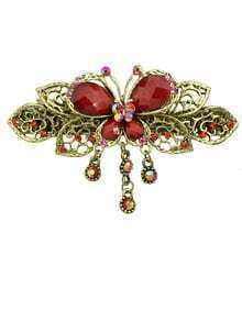 Leaf Flower Red Rhinestone Hairwear