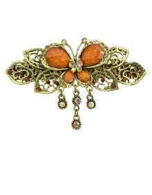 Leaf Flower Brown Rhinestone Hairwear