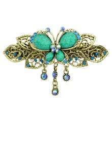 Leaf Flower Blue Rhinestone Hairwear
