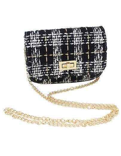 Trendy Woolen Fabric Black Shoulder Bag