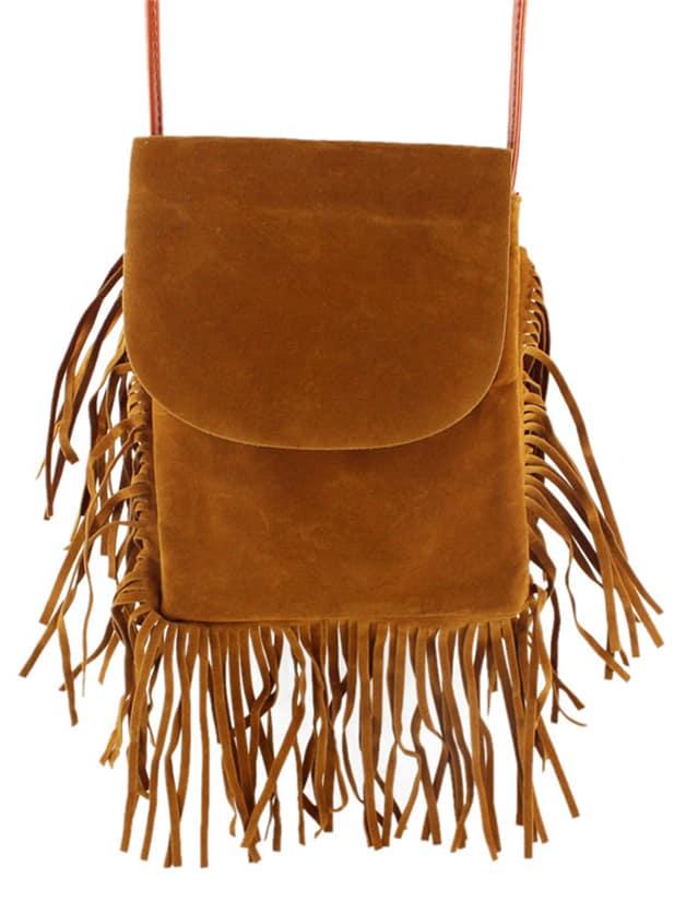 Brown Pu Shoulder Fringes BagBrown Pu Shoulder Fringes Bag<br><br>color: Brown<br>size: None