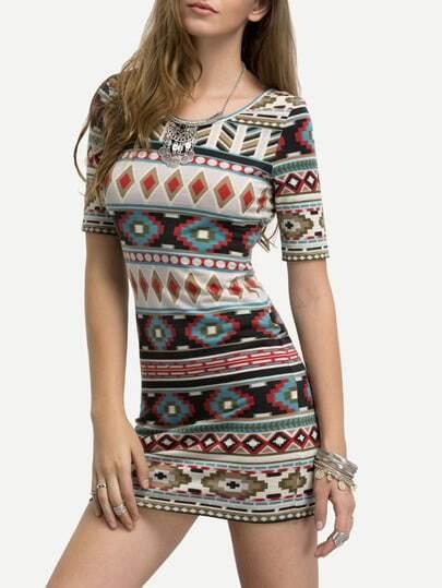 Multicolor Short Sleeve Print Bodycon Dress