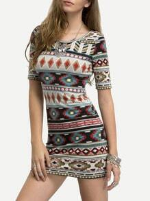 Multicolor Short Sleeve Print Bodycon Dress