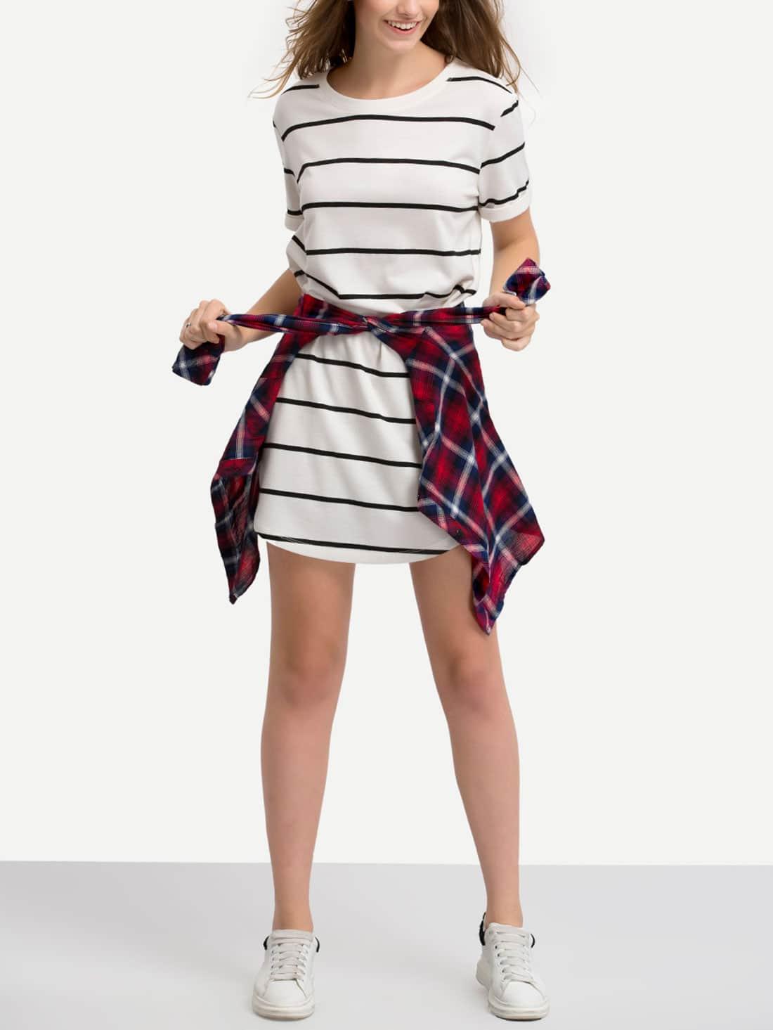 Black white short sleeve striped t shirt dress shein for Black and white short sleeve shirts